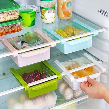 Slide Kitchen Fridge Freezer Organizer Storage Rack Shelf Holder Space Saver  6921761139898