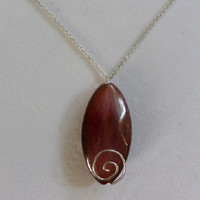 Salmon Red Wire Wrapped Oval Agate Quartz Pendant Necklace