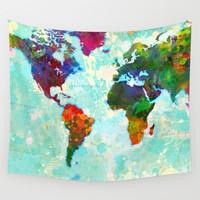 Abstract Map of the World Wall Tapestry by Gary Grayson