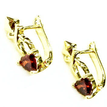 Huggies Red Stone 18Kts Gold Plated Earrings