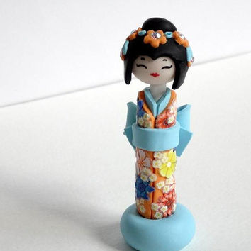 Miniature Japanese Doll , Kokeshi Doll,  Orange Turquoise Kimono ,Shabby Chic, Unique Handmade Sculpture doll