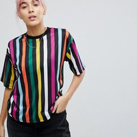 ASOS T-Shirt In Rainbow Stripe In Boxy Fit at asos.com