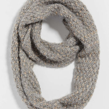 fuzzy knit infinity scarf with metallic stitching | maurices