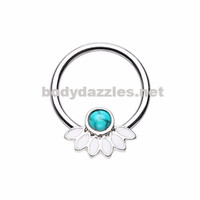 Filigree Synthetic Turquoise Steel Captive Bead Ring 16ga Cartilage Tragus Daith Helix Rook