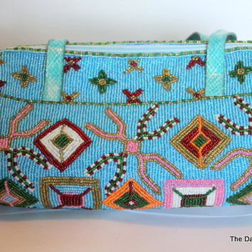 Vintage Stunning Turquoise Hand Beaded 1980's Hand Bag