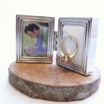 Ring Frame Holder; Petite Bi-Fold Wedding Ring Frame; Engagement Ring Safety, Ring Display, Photo Prop; Valentine's Present