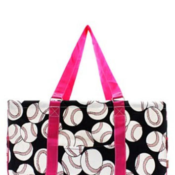 Utility Tote Large - Baseball Print - 3 Color Choices