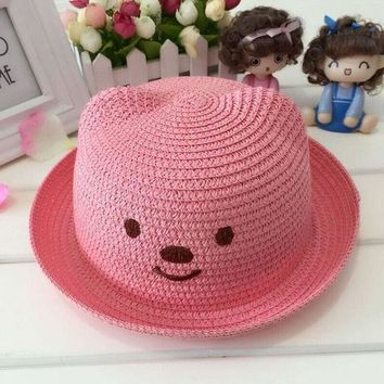 ONETOW 1 Pcs 2016 Lovely Cartoon New Bear Children Sun Hats Spring Summer Fashion Flanging Beach Straw Hats 51-52cm 10Colors
