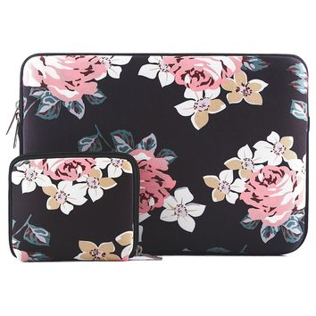 Mosiso Laptop Sleeve for MacBook Pro 13 2017/2016 (A1706/A1708)/Microsoft New Surface Pro 2017/Surface Pro 4/3 with Small Case, Water Repellent Lycra Rose Protective Bag Cover, Black