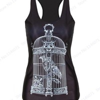 Running Vests Jogging Grey Birdcage Women  Summer Sports Fitness Workout Tanks Top Summer Black Sleeveless Yoga Singlet Sportwear Loose KO_11_1