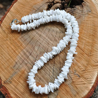 White Puka Shell Chip Surfer Beach Choker Necklace