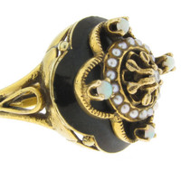 14k BLACK ENAMEL RING - Fully Hallmarked Solid Yellow Gold - White Opals - Pearls - Central Sparkling Diamond