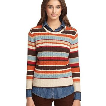 Three-Quarter Sleeve Cable Stripe Sweater - Brooks Brothers