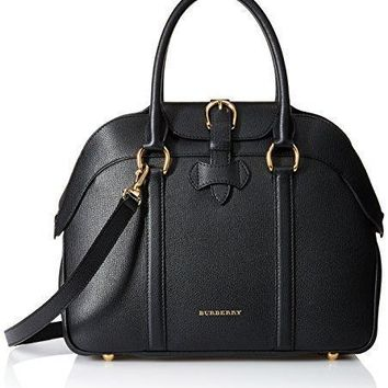 Tagre™ Burberry Women's Medium Leather Bowling Bag, Black
