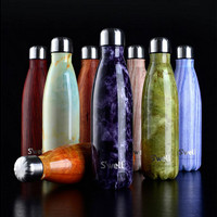 Swell thermos vacuum flask Expansion bottle of coke bottle coffer cup sports kettle vacuum marble texture flask bottle