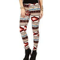 SALE-TanRedBlue Tribal Print Leggings