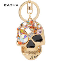 Rhinestone Colorful Skull Key Chain