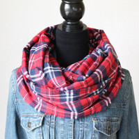 Red and Navy Plaid Scarf, Plaid Infinity Scarf, Flannel Scarf, Winter Scarf, Womens Scarf, Fall Scarf, Chunky Scarf