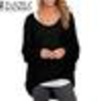 Women Blouse 2018 Autumn Spring Hot Fashion Batwing Long Sleeve Casual Loose Solid Color Shirts Plus Size Sexy Tops Blusas 3XL