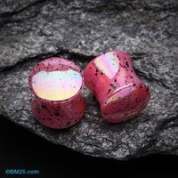Iridescent Splatter Pearl Coated Acrylic Double Flared Ear Gauge Plug
