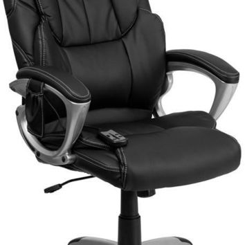 High Back Massaging Black Leather Executive Swivel Office Chair with Silver Base