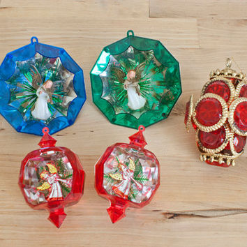 Vintage Plastic Jewel Brite Christmas Ornaments, Reflective Diorama Tree Ornament, SET of 5