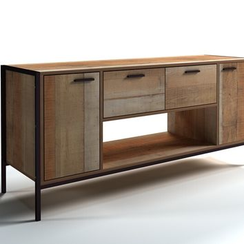 Natural rustic reclaimed finish wood wide TV stand with metal accents