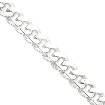 Men's 11mm, Sterling Silver Solid Beveled Curb Chain Necklace, 24 Inch