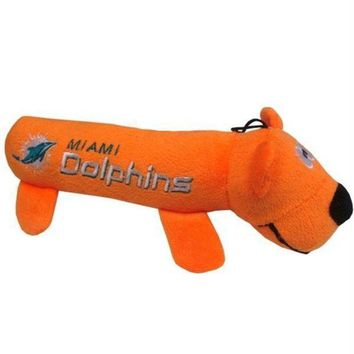 PEAPYW9 Miami Dolphins Plush Tube Pet Toy