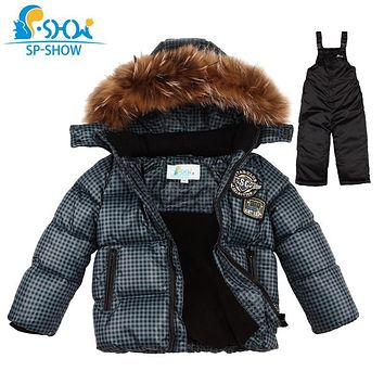 SP-SHOW Winter Children's Boys And Girls Thick Warm Winter Clothing sets Natural raccoon fur Brand Hooded Down Jacket+Trousers