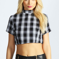 Carey Woven Check Zip Back Crop Top