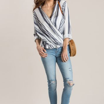 Nora Navy Striped Surplice Blouse
