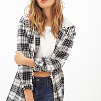 FOREVER 21 Hooded Plaid Flannel