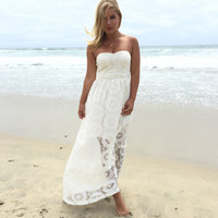 Sun Kissed Lace Maxi Dress In Ivory