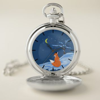Winter Night Fox Pocket Watch