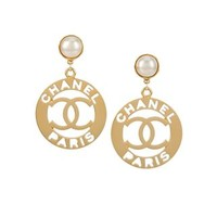 Chanel Vintage Cc Logo Imitation Pearl Clip-on Earrings - Amore - Farfetch.com