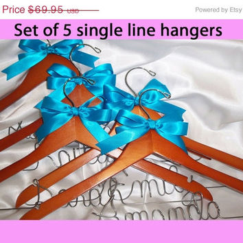 ON SALE bridesmaids gifts,  Set of 5 -  bridesmaid hangers,  Personalized bridesmaid gift,  custom hanger, bridal hanger, wedding dress hang