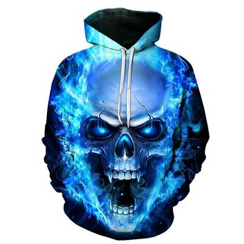 Skull Head On Fire - Blue Flames All Over Print Hoodie Sweater
