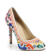 Charlotte Olympia - Celebration Jennifer Sequined & Embroidered Linen Pumps - Saks Fifth Avenue Mobile