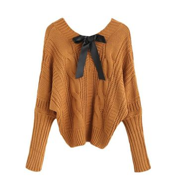 2016112123 Womens Fall Fashion Knitwear Sweaters For Woman Khaki Pullover Jumpers V Neck Batwing Bow Tie Cable Knitted Sweater