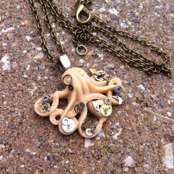 Steampunk Doctor Octopus Pendant Necklace - One of a kind - Clockparts - Watchparts - Watchmovements - Steampunk Jewelry