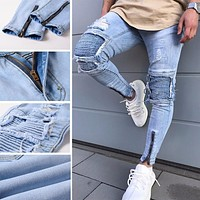 Mens Ripped Slim Fit  Vintage Style Jeans