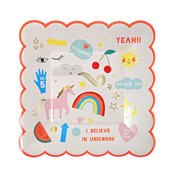 Unicorn Paper Plates, Rainbow, Baby Shower, Birthday Party,Party, Gold Foil ,Pink , Wedding Celebration, Birthday Party