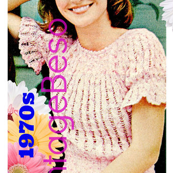 INSTANT DOWNlOAD - PdF Pattern - Peplum Top KNITTING PATTERN Vintage 70s Ladies Puffed Sleeves in Cable Stitch