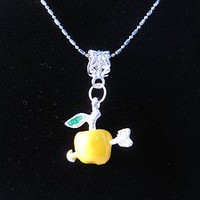 M54 Yellow Hunger Games 3D Arrow through Apple Inspired Necklace 18KGP Chain