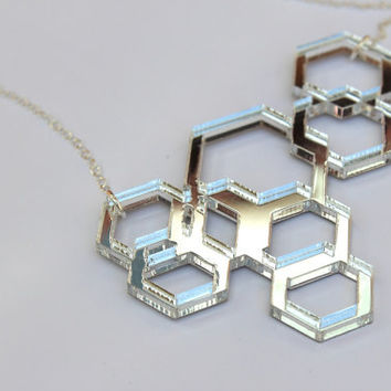 Silver Geometric Necklace Cyber Monday Sale Laser Cut Mirror Acrylic Perspex Gift Idea Womens Jewellery Hexagons on Sterling Silver Chain