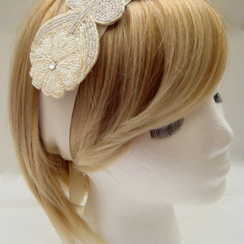 The Daisy - beaded flower headpiece, floral wedding headband, silver cream bridal hairpiece, daisy flower headband, woodland wedding