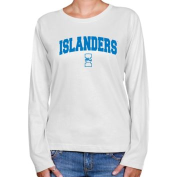 Texas A&M Corpus Christi Islanders Ladies White Logo Arch Long Sleeve Classic Fit T-shirt