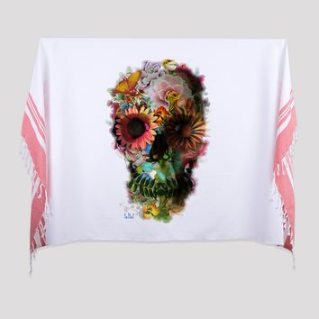 Skull Print Turkish Beach Towel, Flower Skull Turkish Towel Peshtemal, Skull Hammam Towel