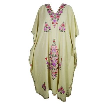 Mogul Women's Beige Kaftan Kimono Sleeves Beautiful Floral Embroidered Evening Resort Wear Stylish Lounge Maxi Caftan Dresses 4XL - Walmart.com